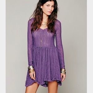 Free People Intimately Long Sleeve Purple Slip